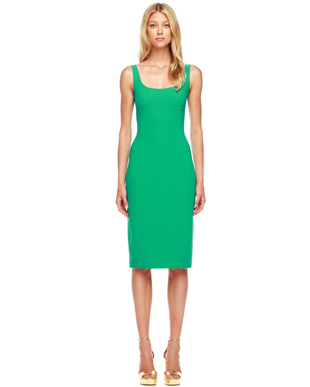 Michael kors Sleeveless Woolcrepe Dress in Green | Lyst