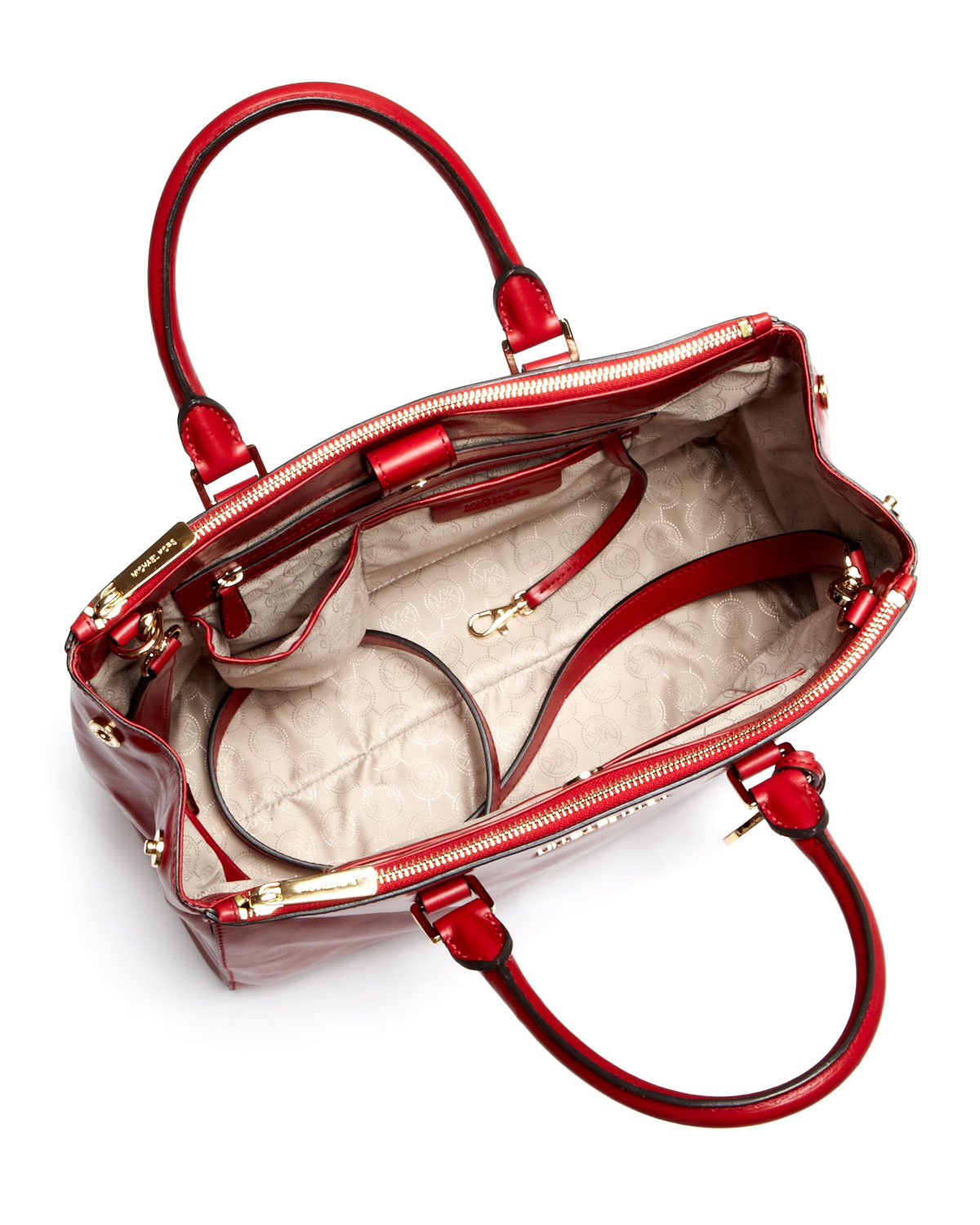 7c7f7cef0b83 Michael Kors Large Bedford Saffiano Dressy Tote in Red - Lyst