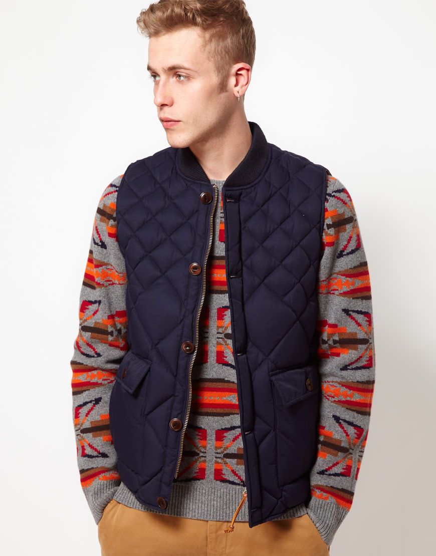 Ymc Gilet With Quilting In Blue For Men Lyst