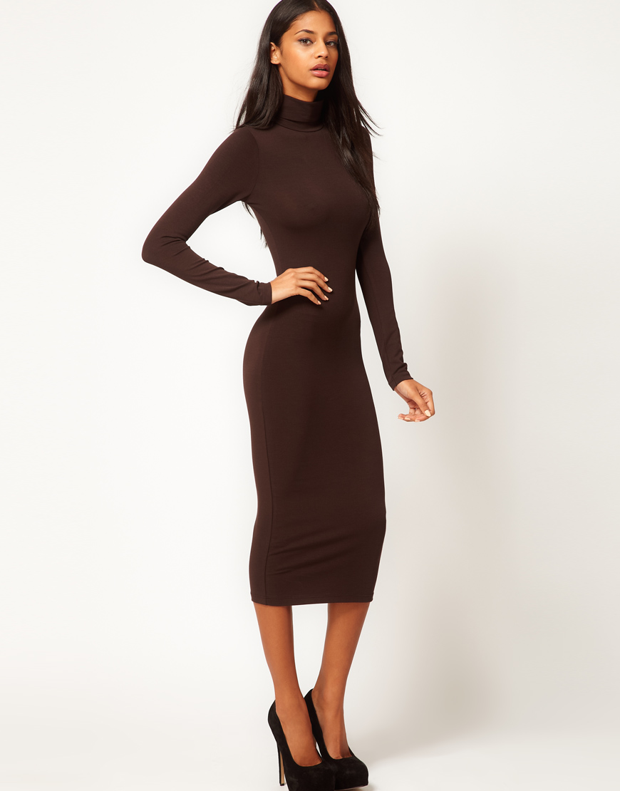 ae0209d32062 Lyst - ASOS Midi Bodycon Dress with Poloneck and Long Sleeves in Brown