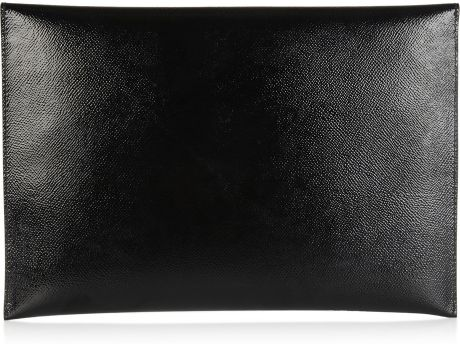 Burberry Textured Patent Leather Document Holder In Black