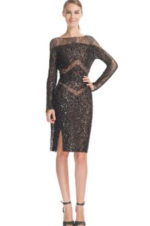 Elie Saab Charcoal Lace Embroidered Boat Neck Dress - Lyst