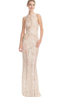 Elie Saab Vanilla Lace Embroidered High Neck Long Column Dress - Lyst