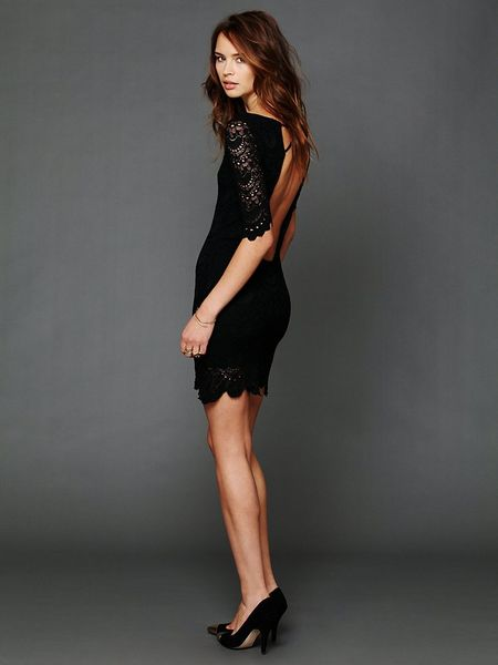 Free People Spanish Lace Priscilla Dress In Black Lyst