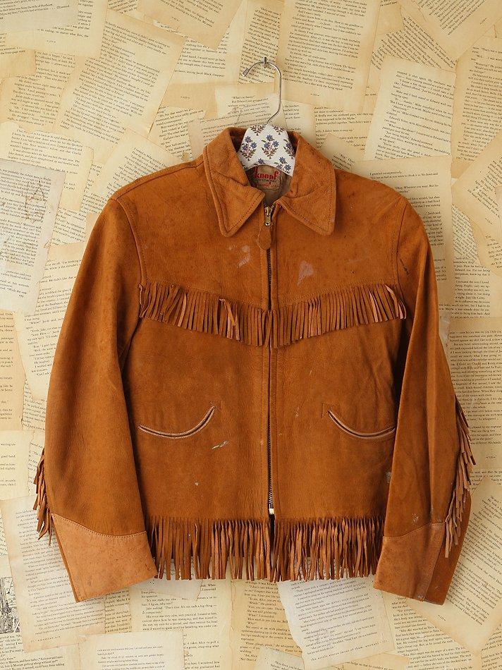 eb64a2f9581 Lyst - Free People Vintage Suede Fringe Jacket in Brown