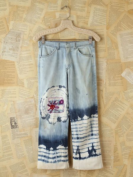 Free People Vintage Acid Wash Jeans with Tie Dye in Blue (denim)