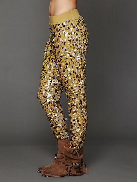 Free People Disco Sequin Harem Pants in Gold (gold metal ...