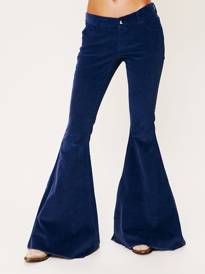 Lyst Free People Cord Killer Super Flare Jeans In Blue