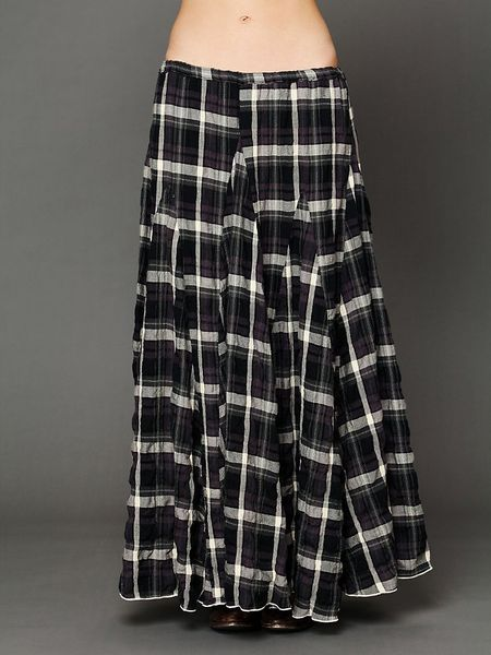 free plaid flannel maxi skirt in black tea stain