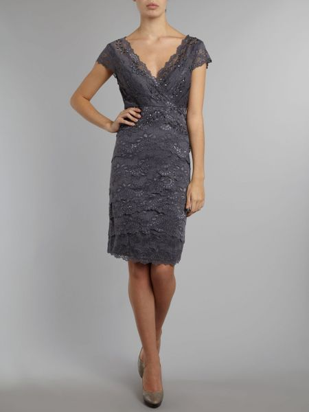Js Collections Lace V Neck Layered Dress In Gray Gunmetal