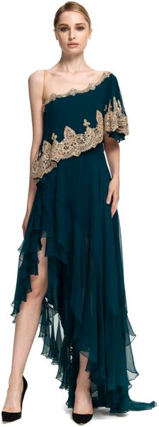 Marchesa Oneshoulder Chiffon Gown with Asymmetric Hem in Gold (peacock) - Lyst