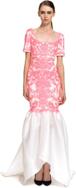 Marchesa Embroidered Gazar Gown with Tulip Skirt in White (white/pink)