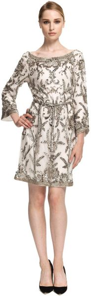 Marchesa Embroidered Sequin Tunic with Self Belt in White (white/silver) - Lyst