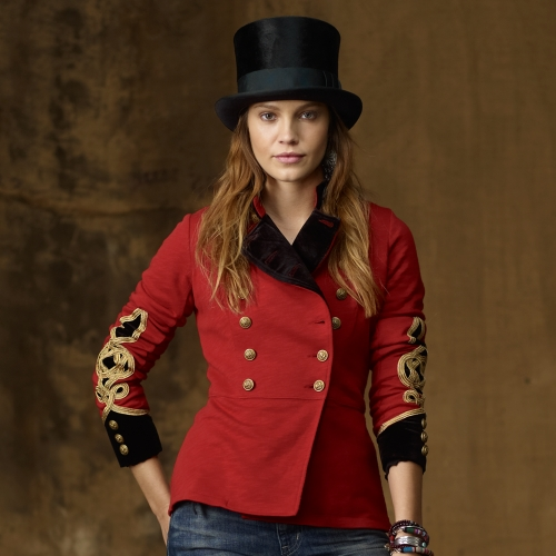 Ralph lauren Bohemian Military Jacket in Red | Lyst