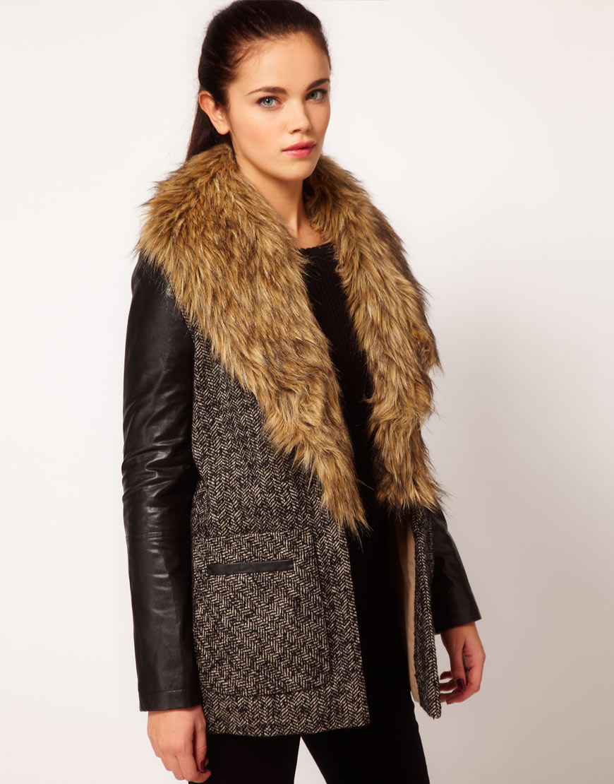 Images of Fur Collar Coat - Reikian