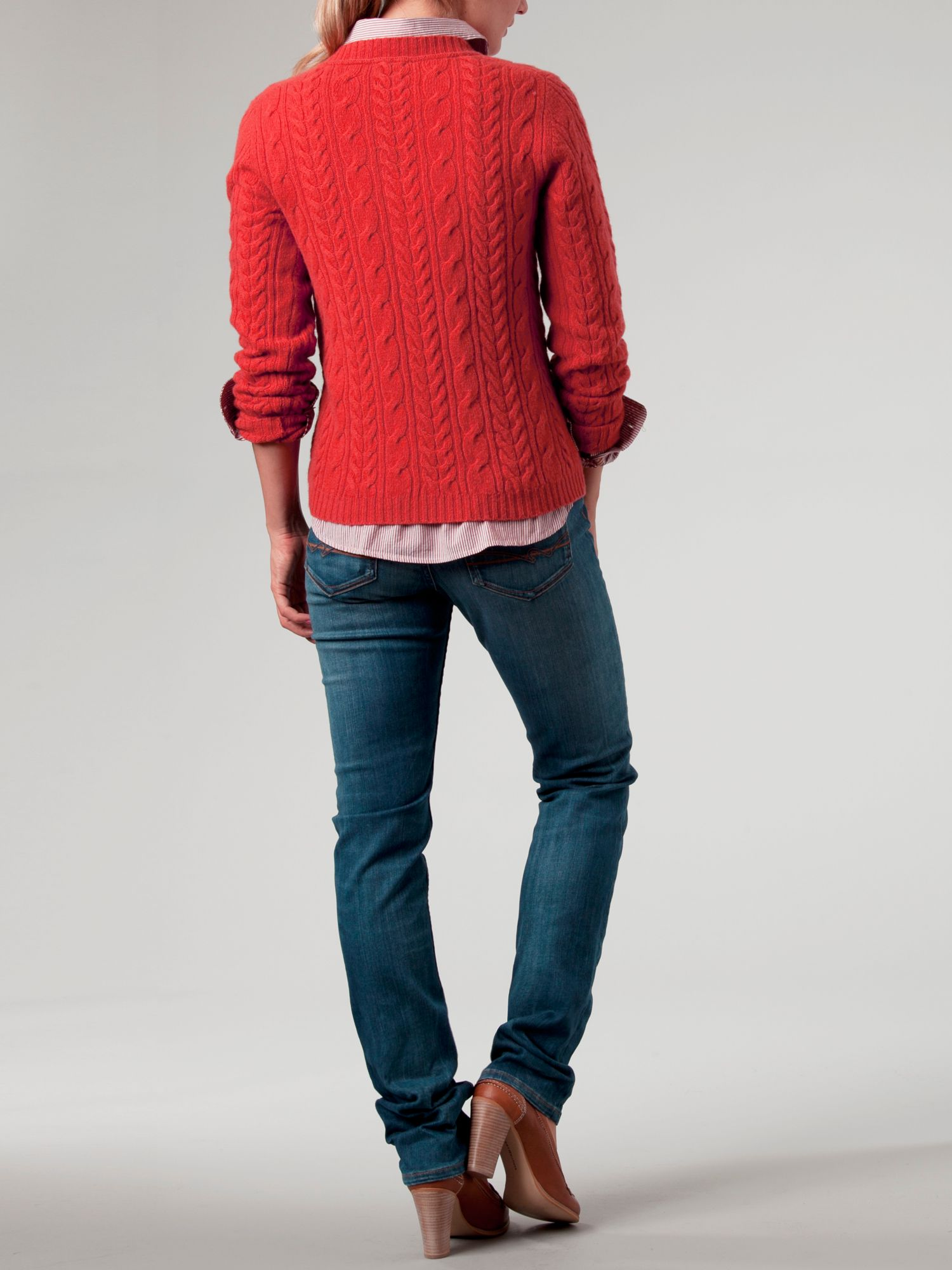 tommy hilfiger odette cable crew neck sweater in red lyst. Black Bedroom Furniture Sets. Home Design Ideas