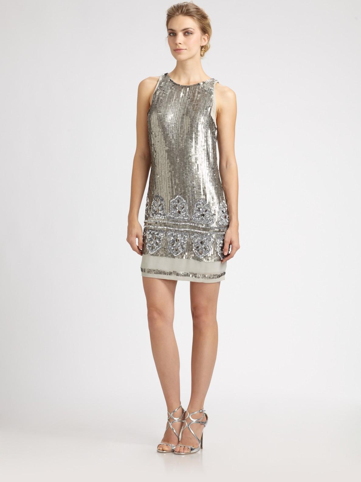 aidan mattox beaded sequined dress in silver lyst