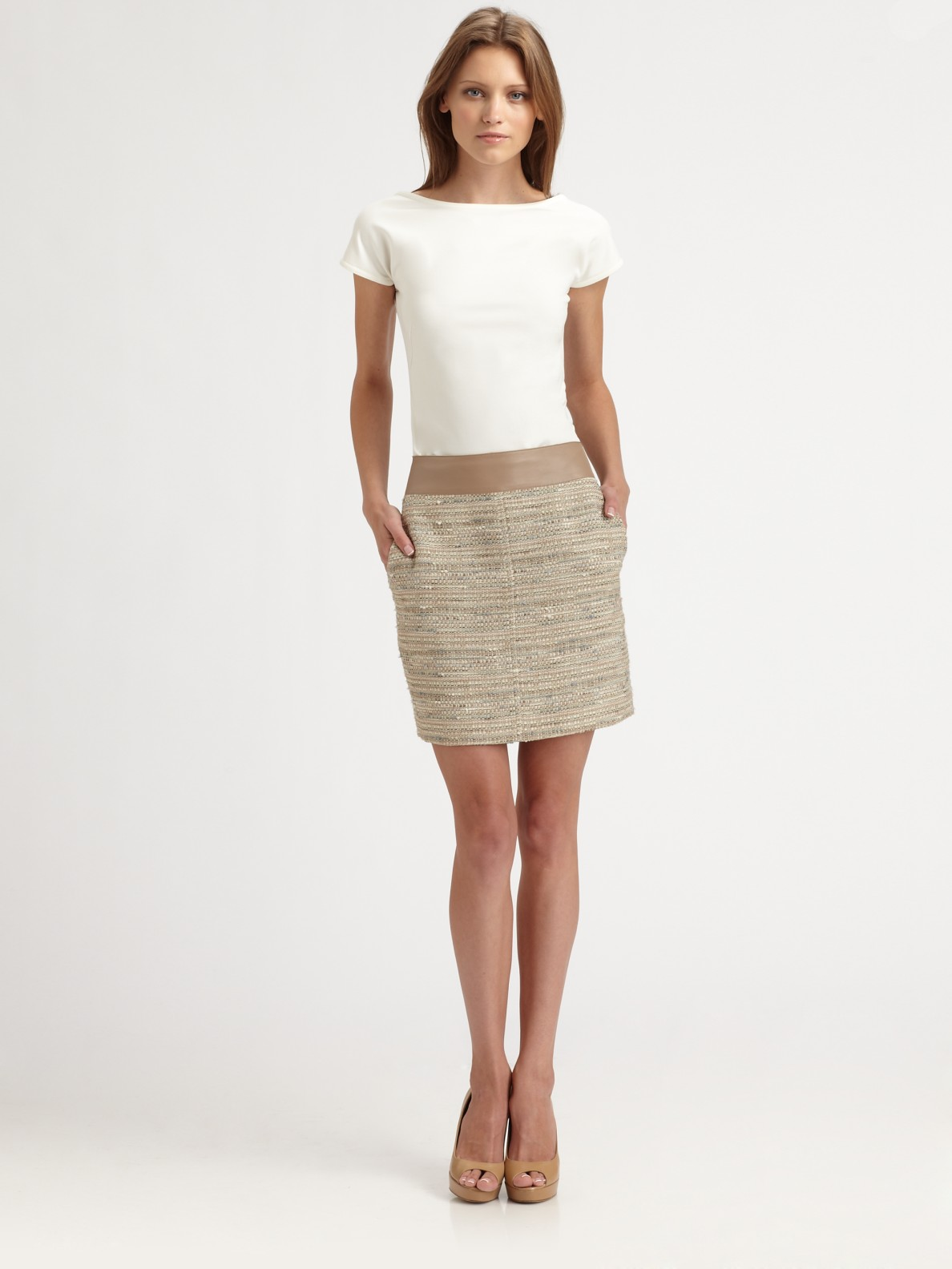 Akris Punto Leather-Trimmed Tweed Dress Authentic Cheap Online Lowest Price Cheap Online For Sale Buy Authentic Online Vr6iM