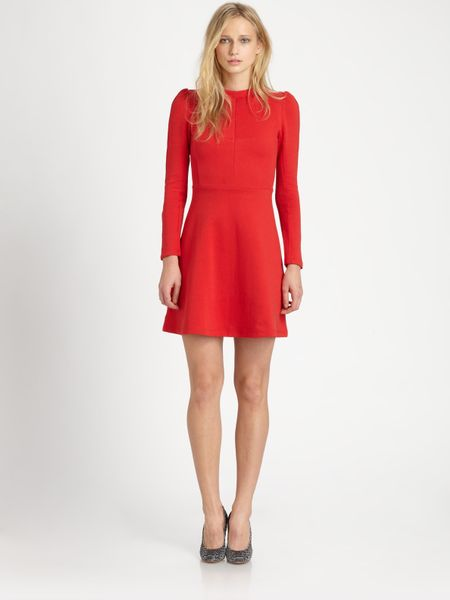 Carven Fit Flare Dress In Red Lyst