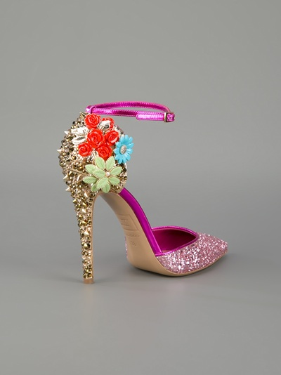 b6f1ae8af46 Shoeniverse: Studded glitter embellished pump with flowers in pink ...