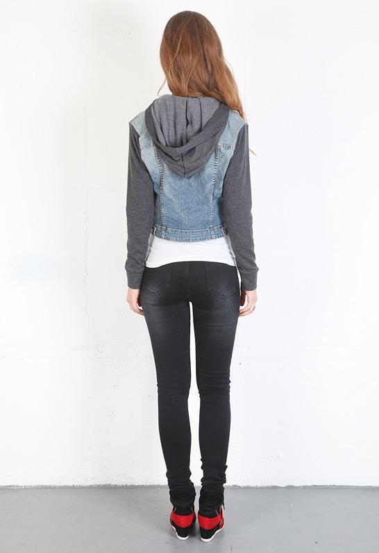 Jean jacket with hoodie sleeves – Modern fashion jacket photo blog