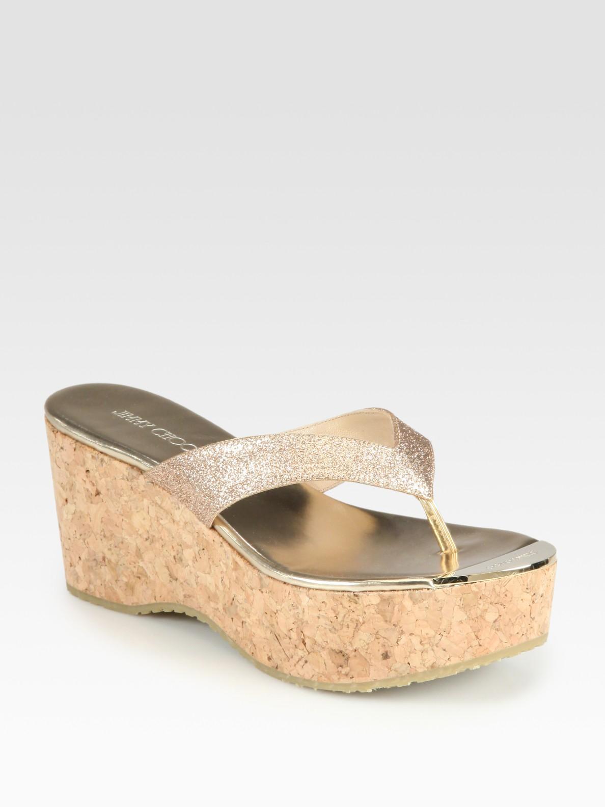 Jimmy Choo Pathos Glitter Cork Wedge Sandals In Natural Lyst