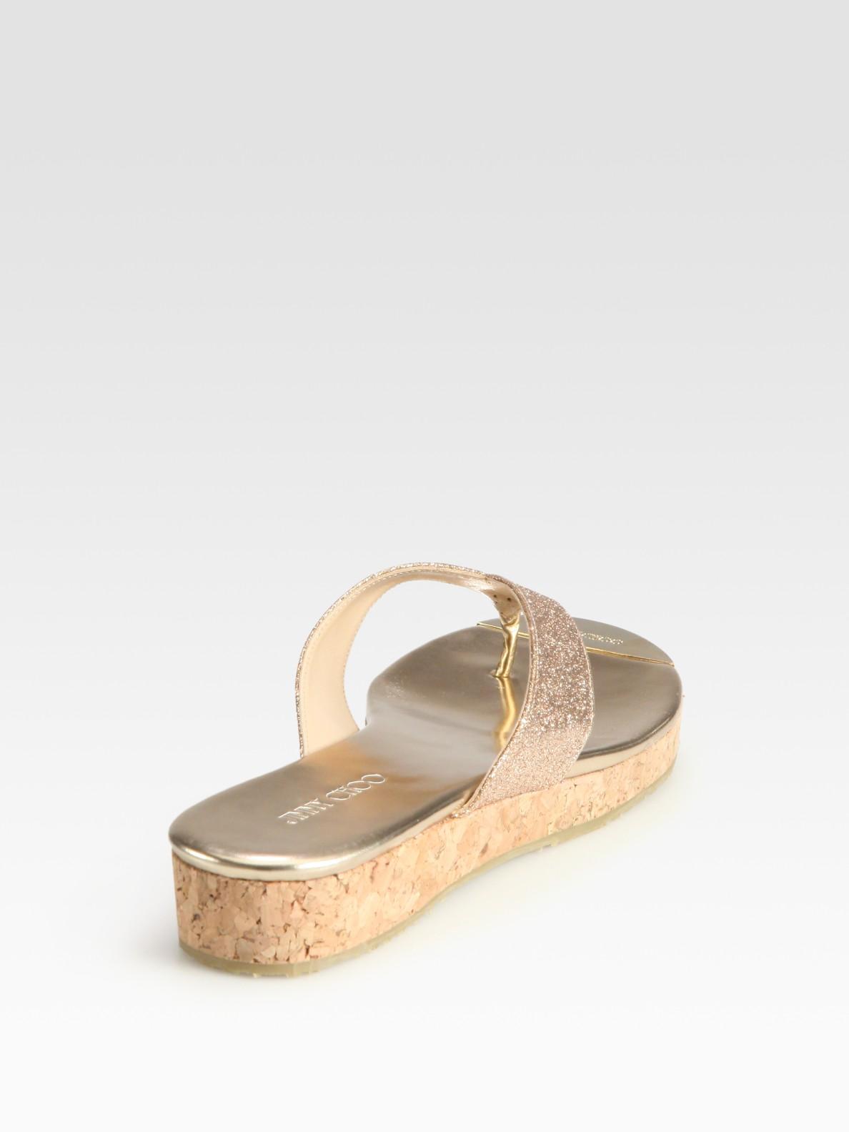 bd578e34042 Lyst - Jimmy Choo Pence Glitter Cork Wedge Sandals in Natural