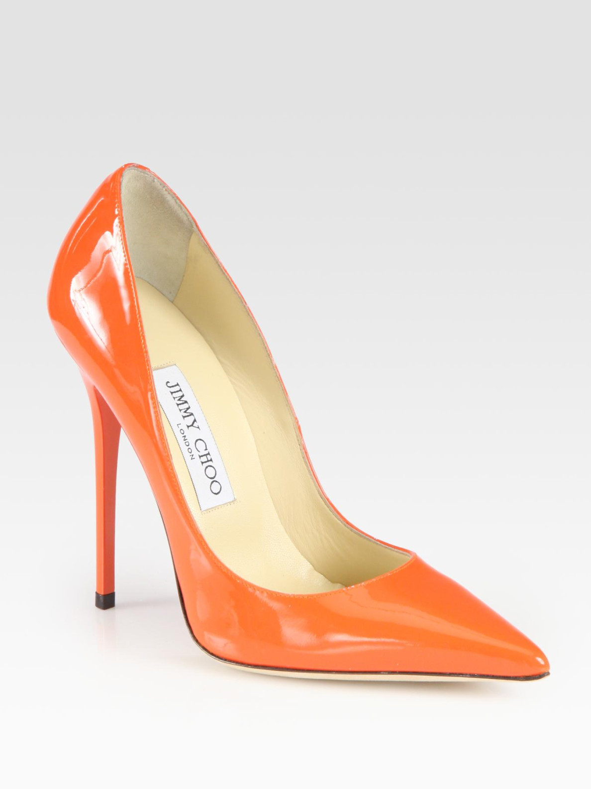Lyst Jimmy Choo Anouk Patent Leather Pumps In Orange