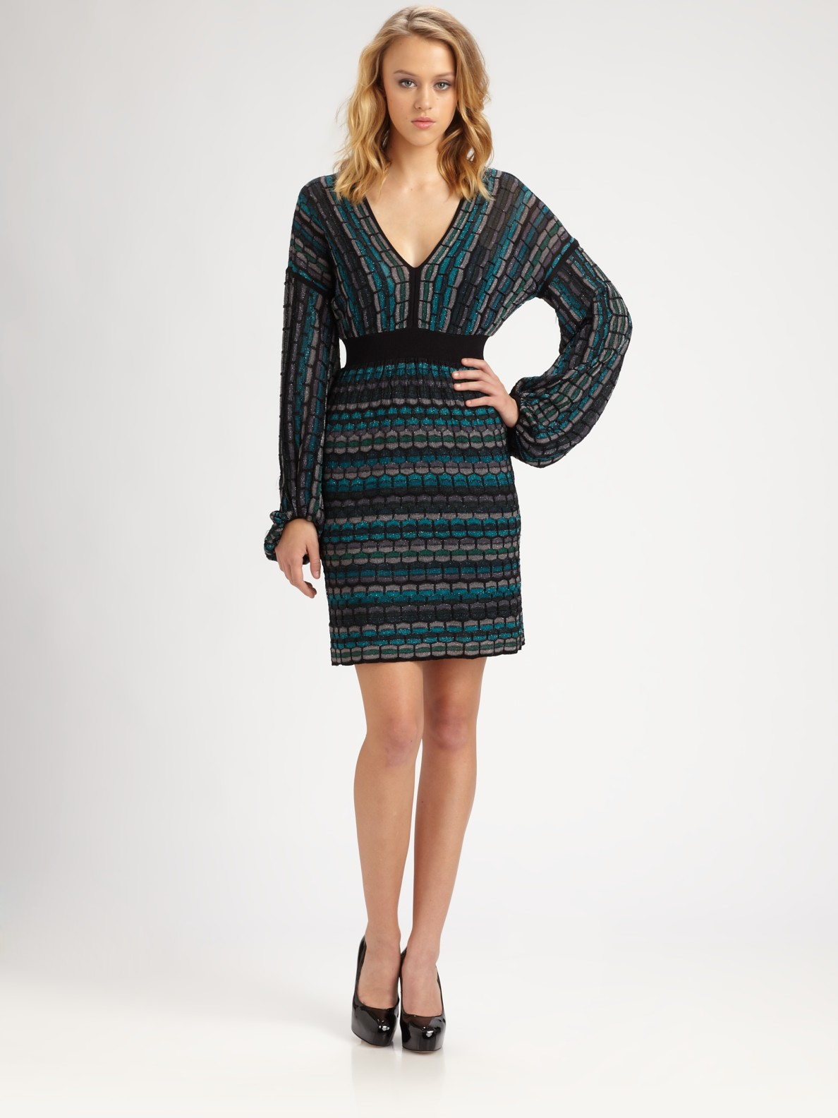 Laundry By Shelli Segal Multistitch Sweater Dress in Green ...