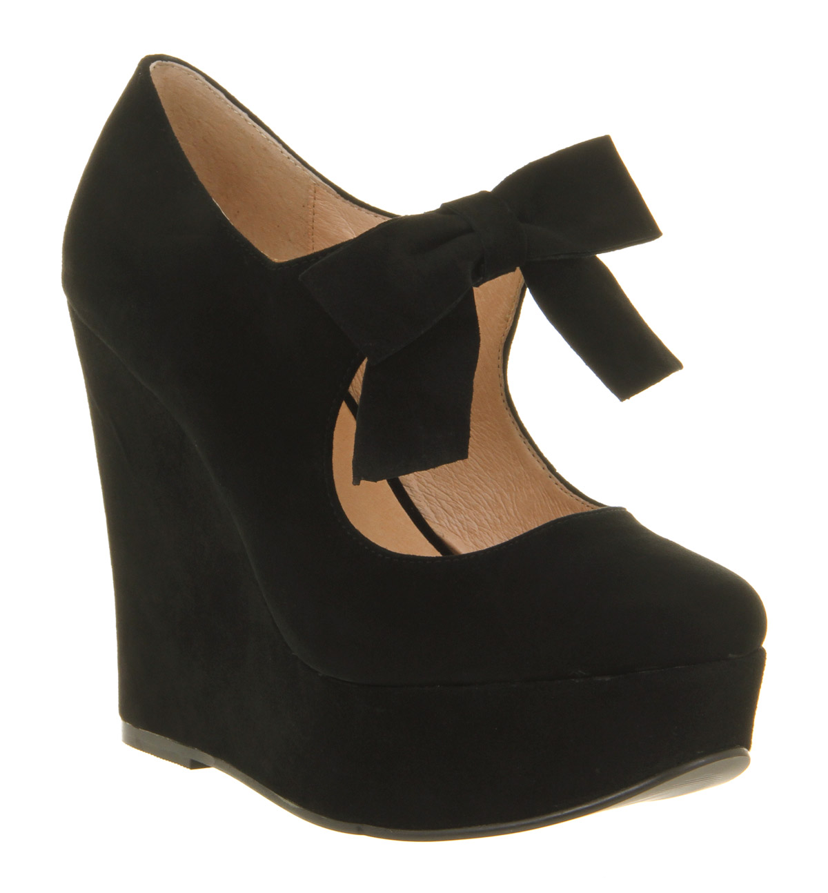Office Special Bow Wedge Black Suede in Natural | Lyst