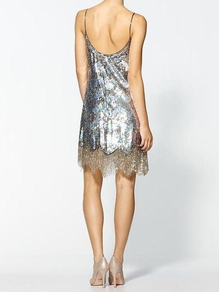 parker fringe dress in silver lyst