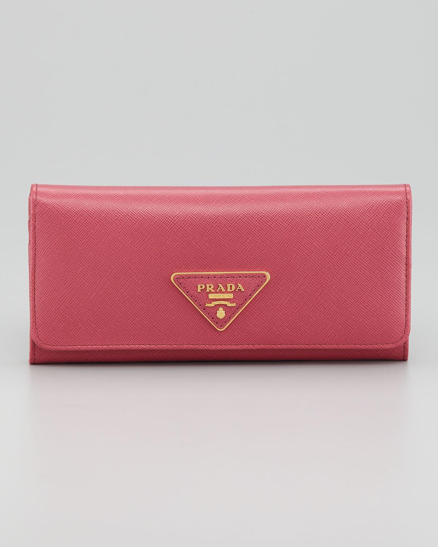 90034b93d90e ... coupon code for lyst prada saffiano flap continental wallet in pink  e17a2 240ba