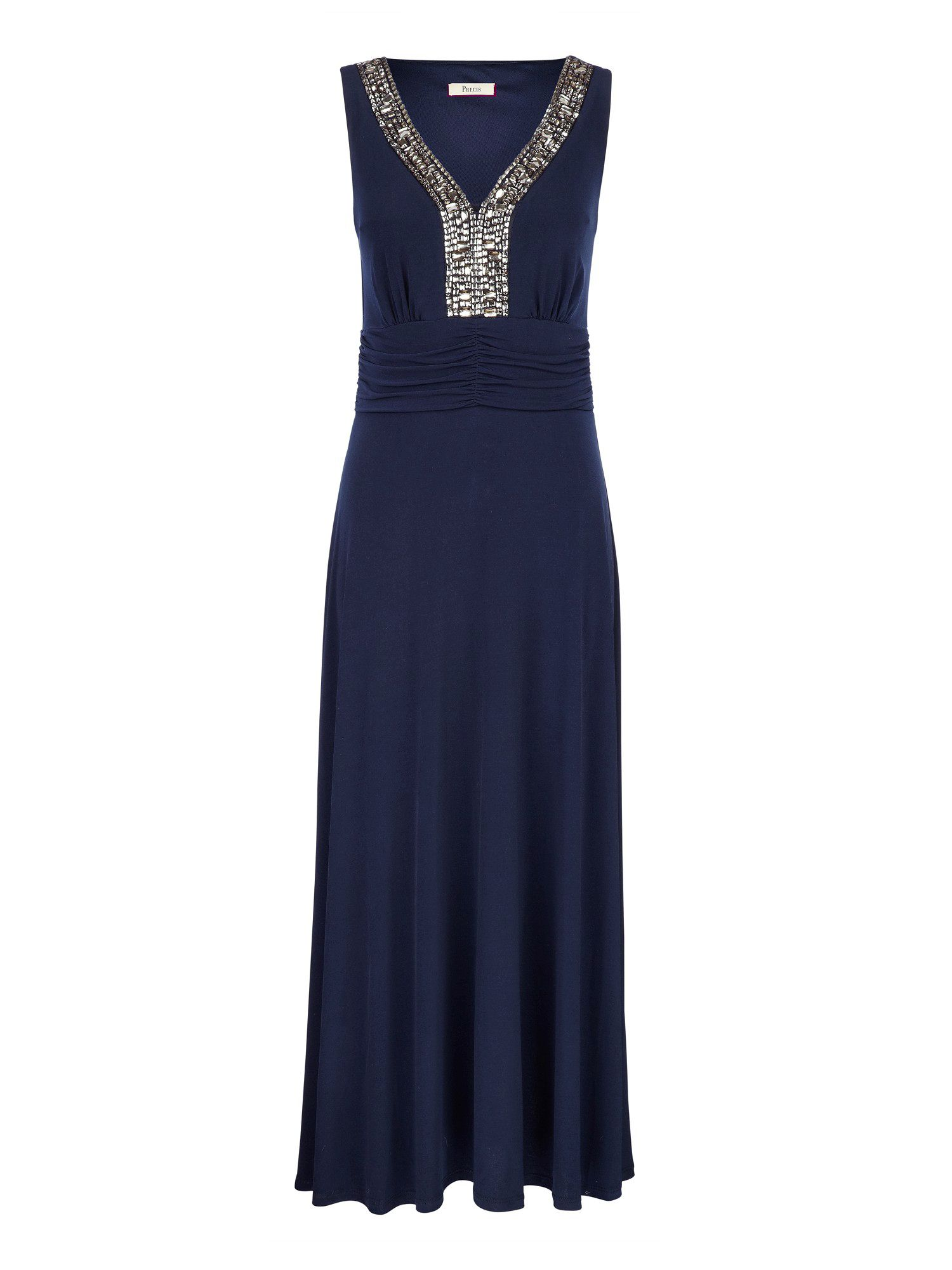 Precis petite navy embellished maxi dress in blue navy for Petite designers