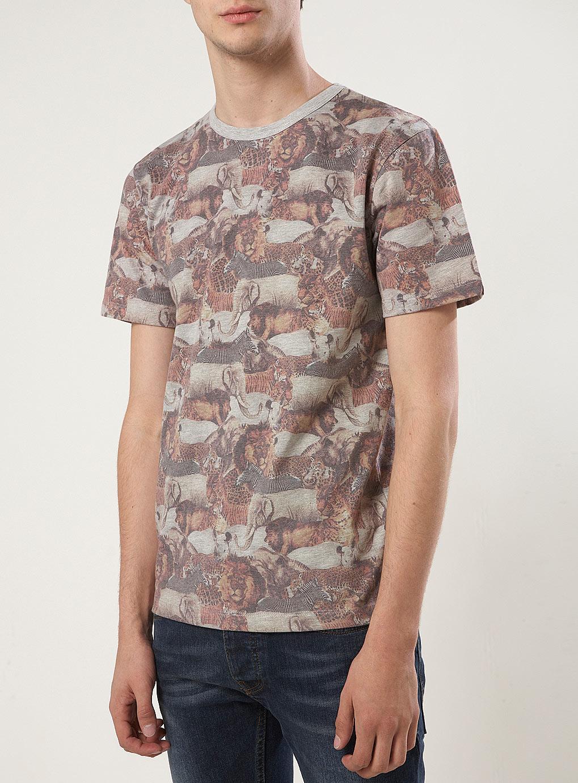 Safari Shirt Cognac Heels: Topman Taxonomy Safari Print Tshirt In Brown For Men