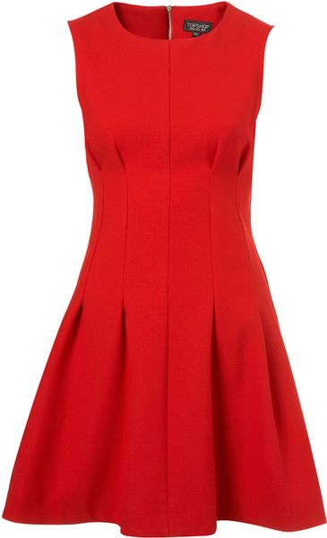 Topshop Seam Waist Shift Dress in Red