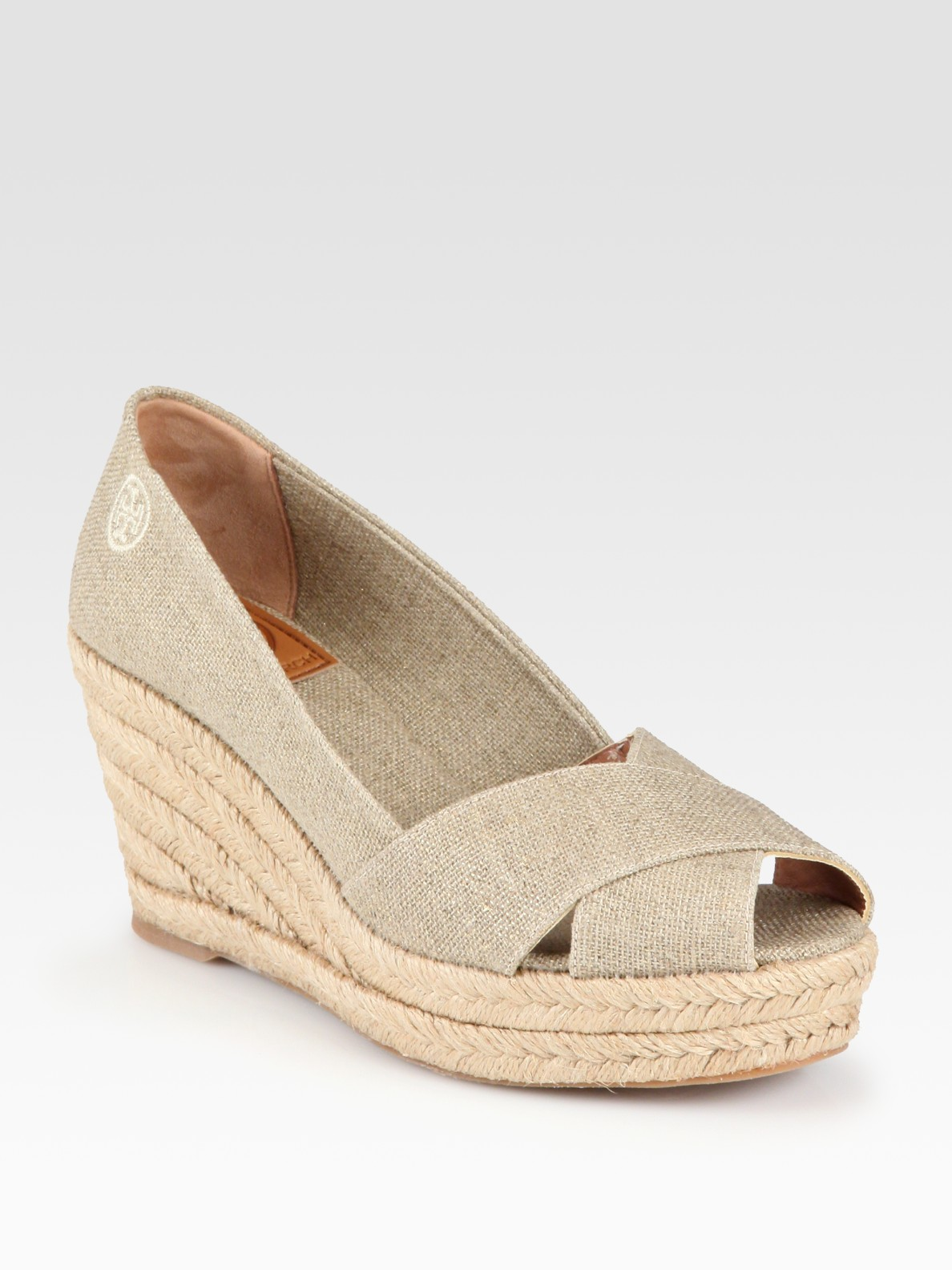 11568fbd10d363 Lyst - Tory Burch Filipa Metallic Linen Espadrille Wedge Sandals in ...