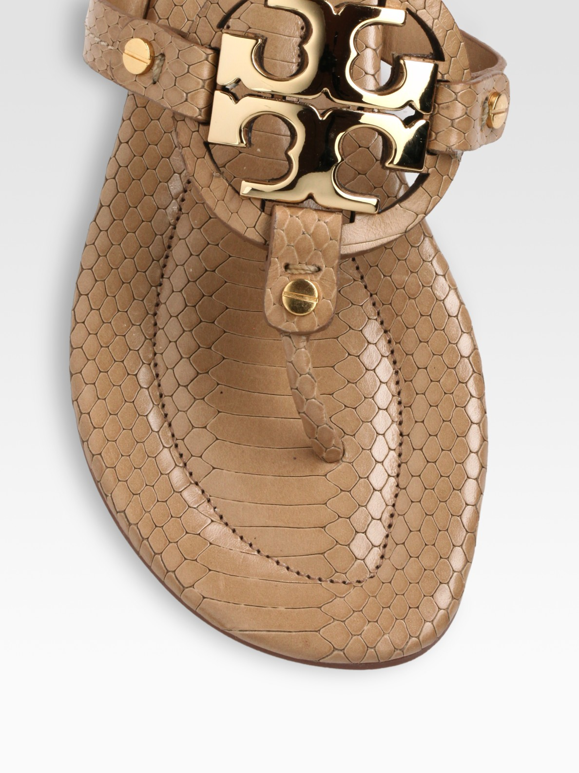 2bad889a5bf Lyst - Tory Burch Miller Snake-Print Leather Thong Sandals in Brown