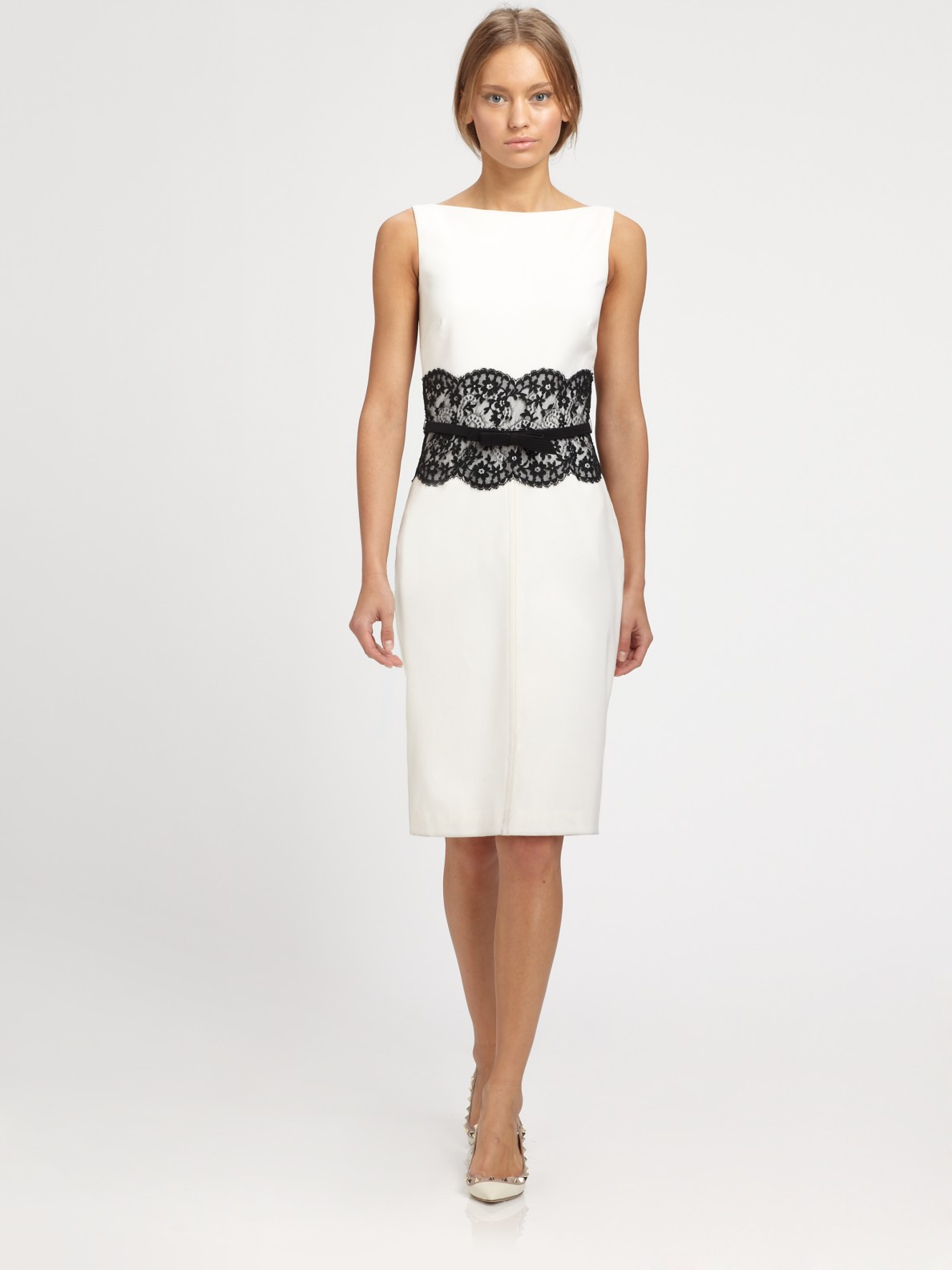 ce3028fb5321 Lyst - Valentino Lace Trimmed Dress in White