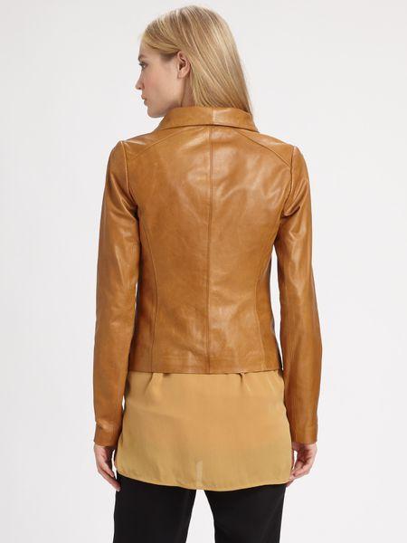 Vince Scuba Leather Jacket In Gold Black Lyst