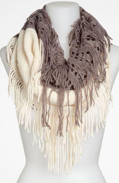 bp two tone fringe infinity scarf in beige ivory lyst