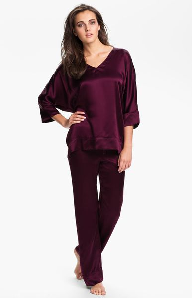 Donna Karan New York Glamour Silk Pyjamas in Purple (grape)