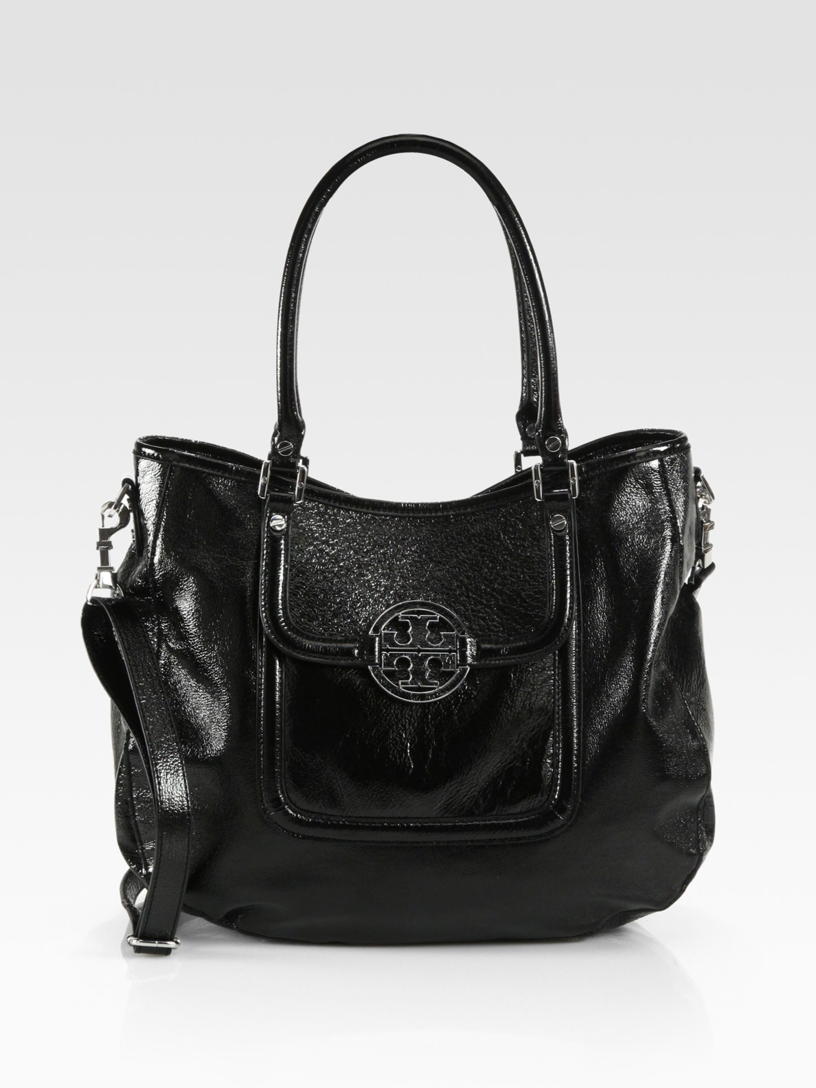 59081239dcc3 ... czech lyst tory burch amanda patent leather classic hobo in black fe701  9dfcf
