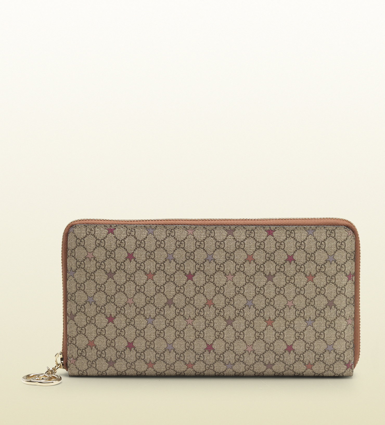 db002a081cb1 Gucci Gg Supreme Canvas Zip Around Wallet in Natural - Lyst