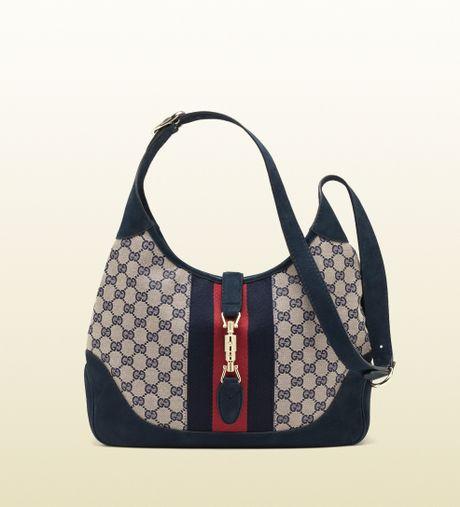 Gucci Jackie Original Gg Canvas Shoulder Bag in Blue (beige)