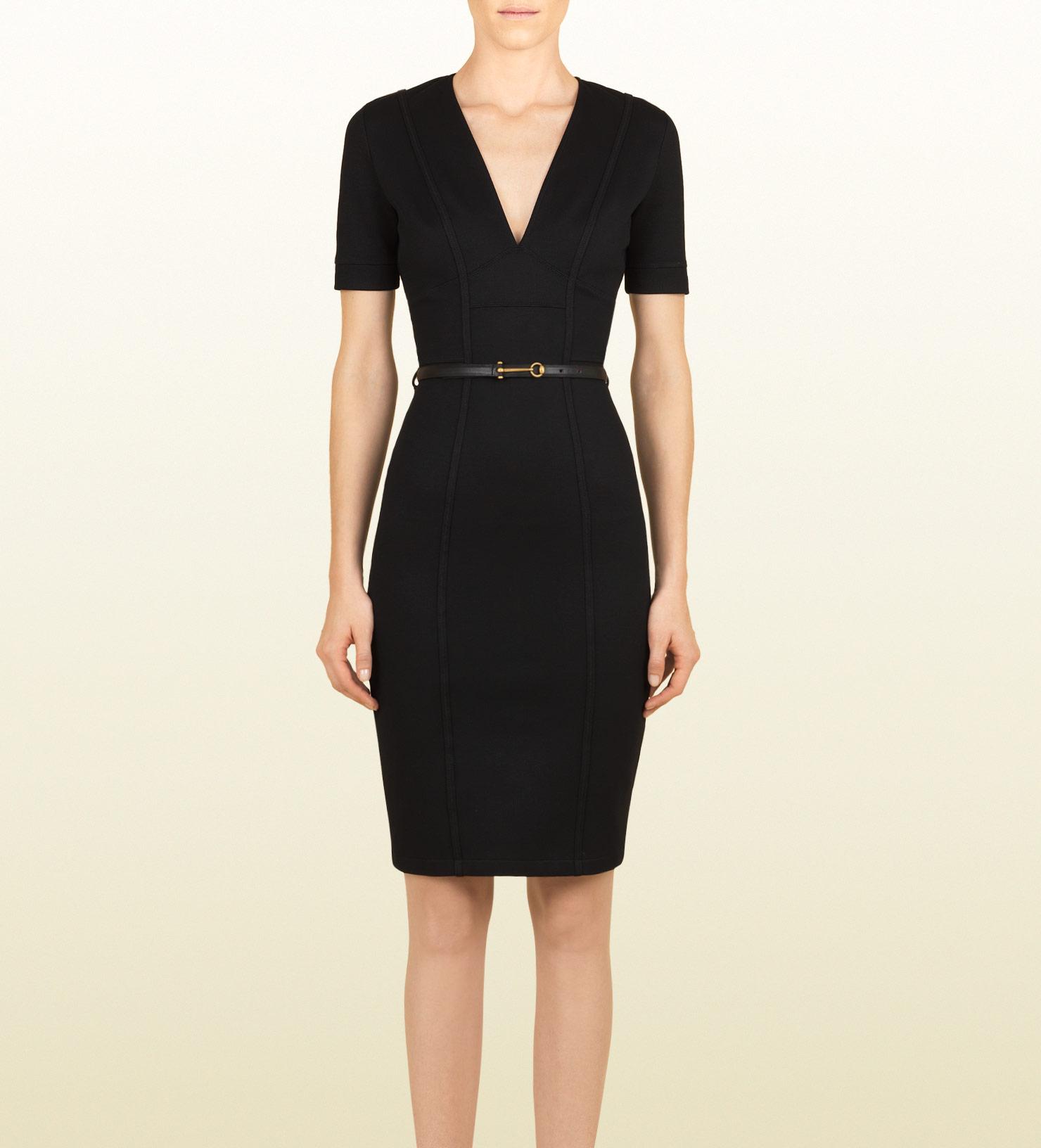 Lyst Gucci Belted V Neck Shift Dress In Black