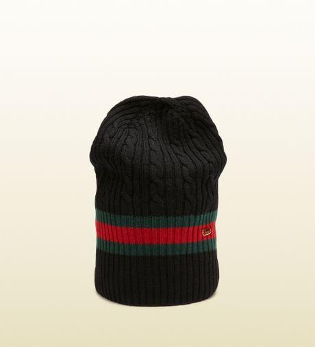 Gucci Hats For Men: Gucci Black Knit Hat In Black For Men