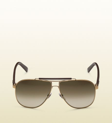 Gucci Gold Sunglasses Men Gucci Logo in Gold For Men