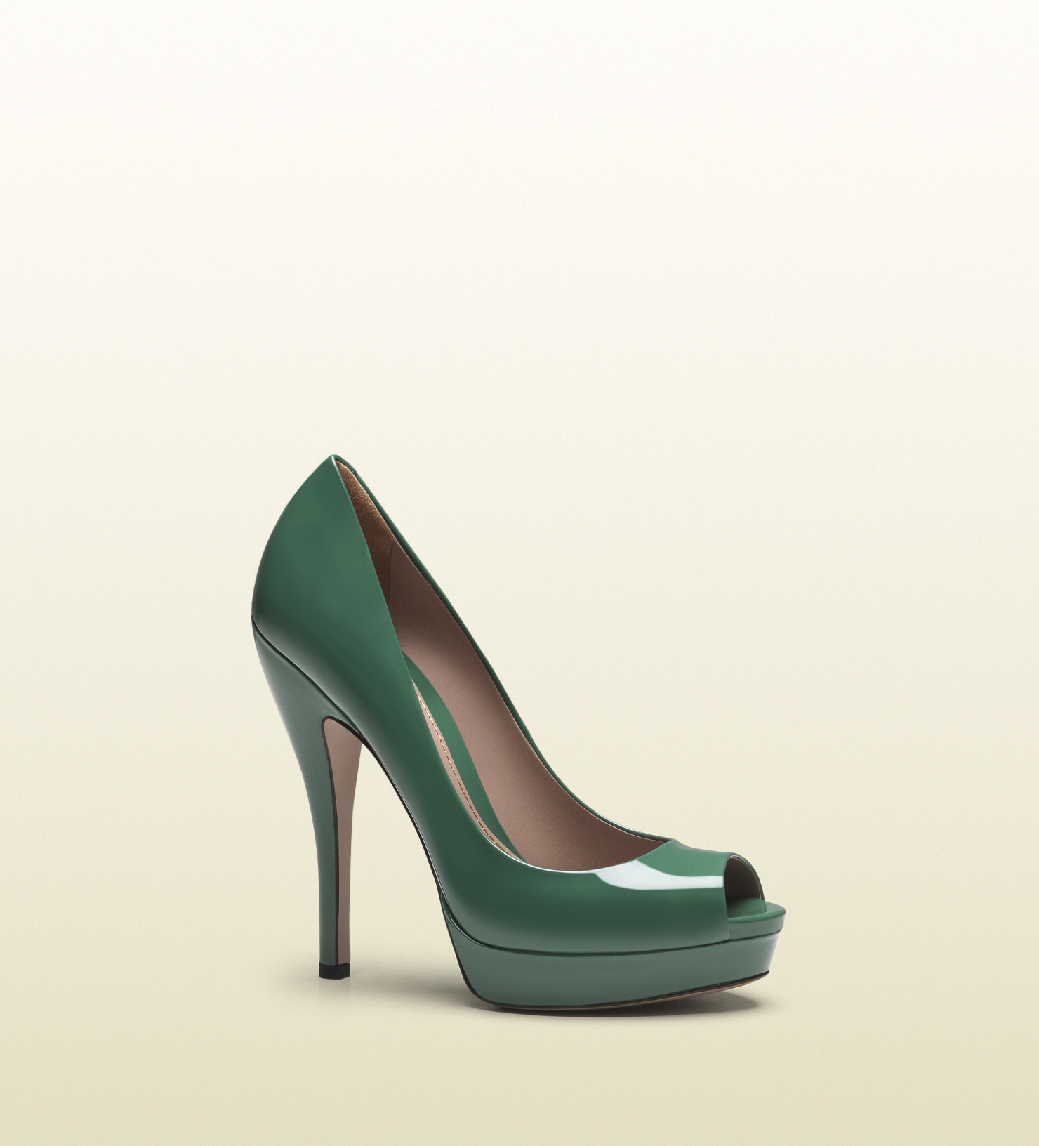 Gucci Lisbeth Dark Green Patent Leather Platform Peeptoe ...