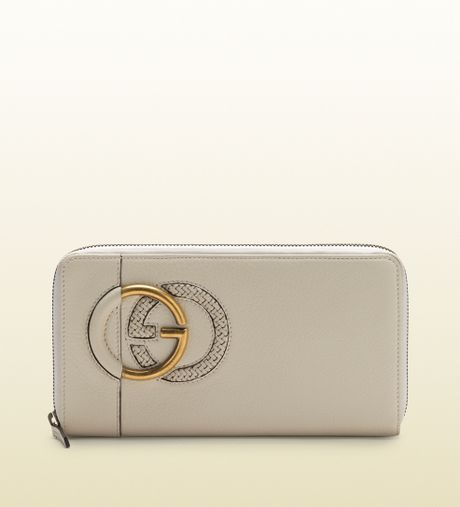 Gucci Large White Leather Zip Around Wallet in Gray (white ...