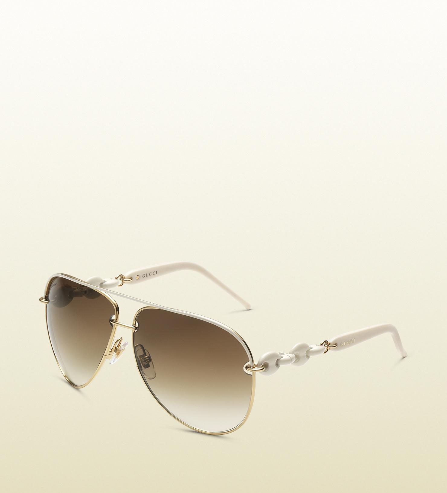 Lyst Gucci Womens White Aviator Sunglasses In White
